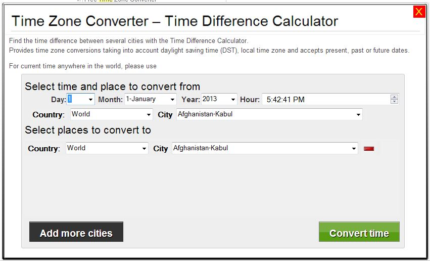 Time Zone Converter Difference