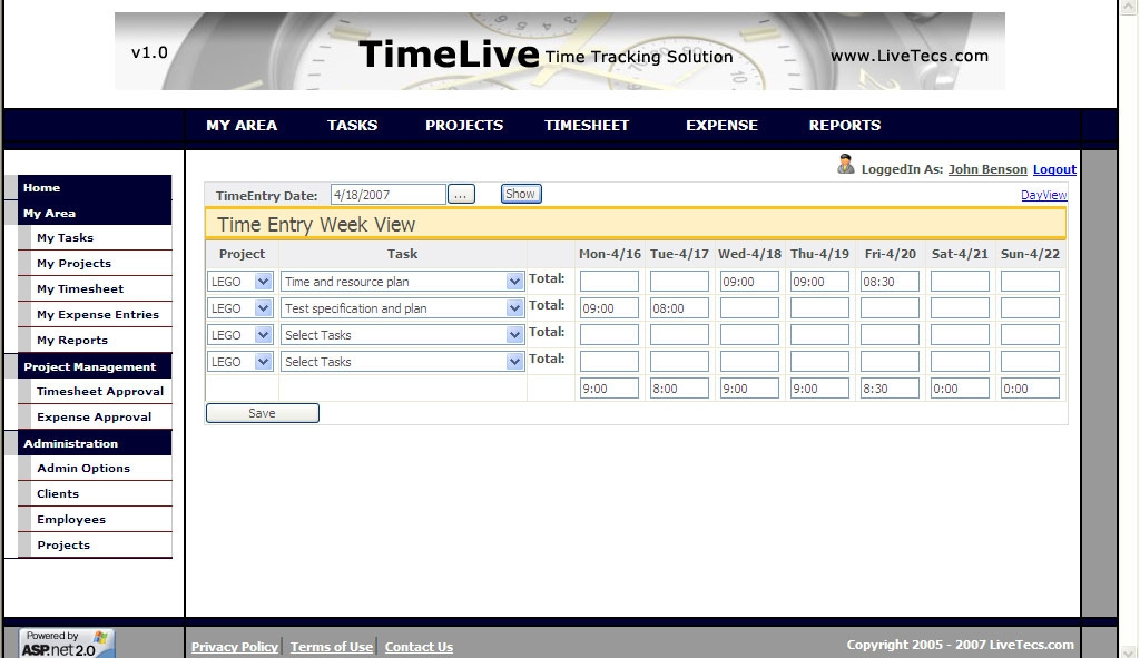 Timelive Open Source Timesheet Standaloneinstaller Com