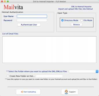 Toolscrunch Mac EML to Hotmail Importer