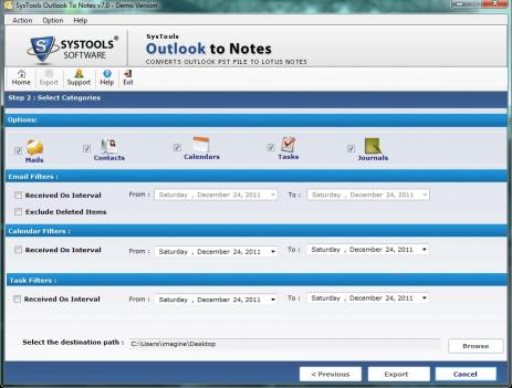 Download Transfer Outlook to Notes Converter