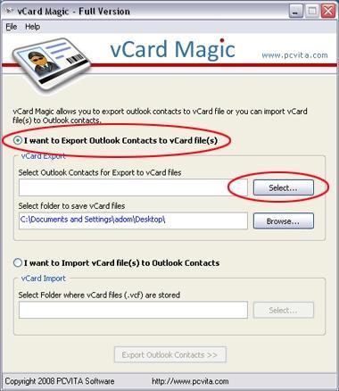Download vCard Export