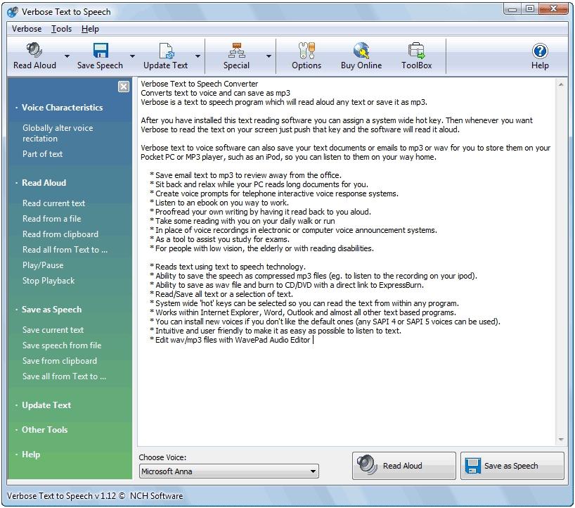Verbose Text To Speech Software Standaloneinstaller Com