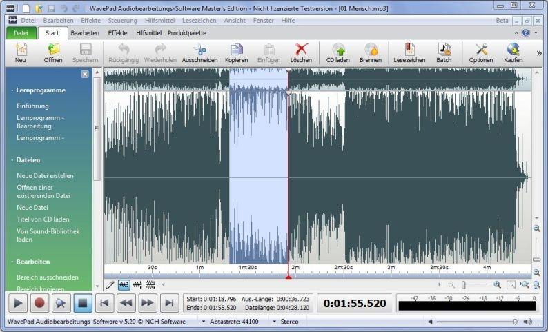 wavepad audiobearbeitungs-software