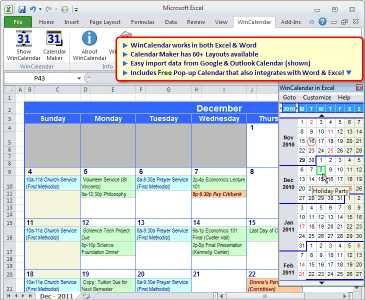 WinCalendar for Windows, Word and Excel