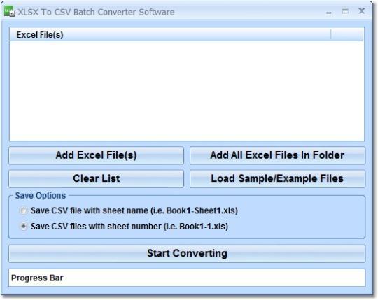 XLSX To CSV Batch Converter Software